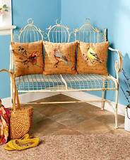 Birdcage Garden Home Bench Red Tanager Blue Robin Yellow Finch Accent Pilllows