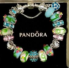 AUTHENTIC PANDORA Sterling Silver MOM Charm Bracelet European Lampwork Beads #30