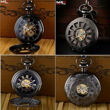 Vintage Mechanical Skeleton Steampunk Mens Pocket Watch Antique Fob Chain Windup