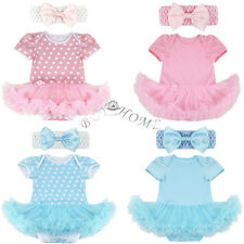 Infant Girl Polka Dot Dress Party Outfit Tutu Skirt Newborn Baby Romper+Headband