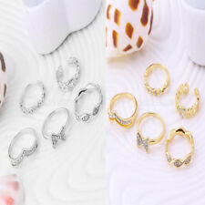 5pcs Crystal Bow Stack Above Knuckle Band Midi Finger Tip Rings Fashion Jewelry