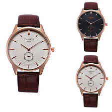 Fashion Mens Quartz Sport Military Stainless Steel Dial Faux Leather Wrist Watch