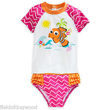 NWT DISNEY STORE FINDING NEMO 2 PC RASH GUARD SWIMSUIT 12/18,18/24 M Girls