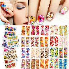 Colorful Tropical Flowers Dots Nail Art Water Transfers Stickers Wraps Decals