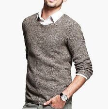 100% Cotton Mens Round Neck Long Sleeve Knitted Nonelastic Sweater M L XL XXL