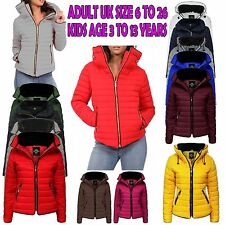 Womens Kids Girls Padded Quilted Warm Thick Puffer Bubble Fur Collar Jacket Coat