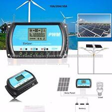 10/20/30A PWM Solar Panel Controller Battery Charge Regulator 12V/24V Auto W/USB