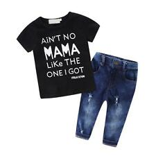 2PCS Toddler Kids Baby Boys Clothes T-Shirt Black Top+Pants Outfits Set Fashion