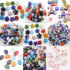 20/50Pcs Glass Craft Mixed Shape Beads Multi-Color Loose Spacer Bead Finding
