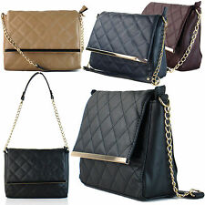 Medium Quilted Women Shoulder Bag Chain Strap Gold Bar Ladies Handbag Satchel UK