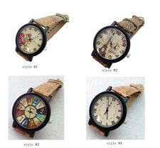 Fashion Retro Quartz Watch Dress Watch with Wood Grain Leather Band for Lady