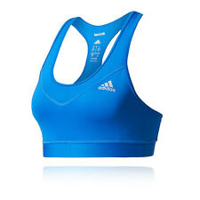 Adidas Techfit Solid Womens Blue Compression Running Sports Bra Support Top