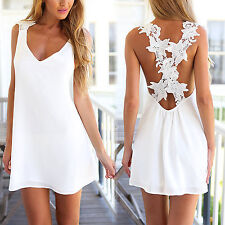 Fashion Womens Summer Casual Sleeveless Loose Sundress Sexy Beachwear Mini Dress