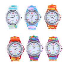 Geneva Candy Rainbow Silicone Sports Women Wrist Watch Jelly Quartz Analog