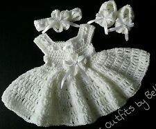 SALE! CROCHET BABY GIRL DRESS SET HEADBAND & SHOES PURE WHITE CHRISTENING RIBBON