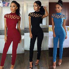 Womens Choker High Neck Caged Sleeve Playsuits Ladies Long Jumpsuits Size 6-14