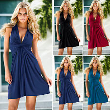 Womens Sleeveless Deep V Neck Sundress Hot Evening Party Cocktail A Line Dress