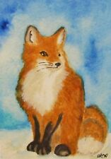 ACEO Original Watercolor ~ Red Fox Portrait ~ Miniature Wildlife Art