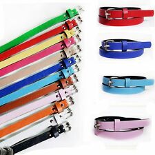 Metal Buckle Women Accessories 8 Candy Colors Waist Belt Faux Leather Thin