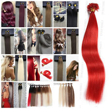 """Nail Tip Remy Human Hair Extensions Weave 50S 8A 16""""-26"""" Keratin Straight Hair"""