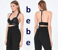 BEBE Faux Leather T-Back Bra Top New with Tag(R$59) Sexy Black Crop Top XS S M L