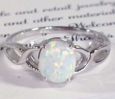 Fire Opal Solid 925 Sterling Silver White Gold Gemstone Jewelry Ring 6,7,8,9