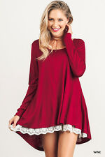 UMGEE Wine Long Sleeve Knit Top With Lace Detail Top Blouse Tunic Dress S M L