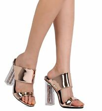 Rose Gold High Heel Slide Mule Perspex Block Open Toe Womens Shoes Dress Sandals