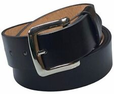 Mens Black Leather Casual Dress Belt With Removable Silver Buckle Size M 34-36""