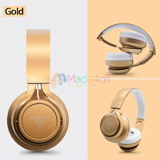 Gold -MD75 FM Bluetooth Headphone Stereo Headset Earphone For Call Phone Apple