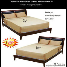 Wyndham House Taupe Organic Bamboo Queen or KIng Size Sheet Set