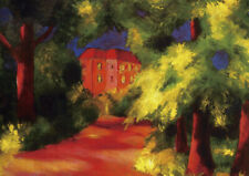 August Macke - Red house - sizes QUALITY Decor Canvas Art Print Poster Unframed