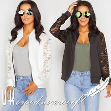 2017 Women Zip Up Bomber Jacket Lace Floral Sleeve MA1 Biker Coat Ladies Outwear