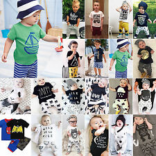 Kids Baby Boys Girls T-shirt Top + Leggings Pants Casual Clothes 2Pcs Outfit Set