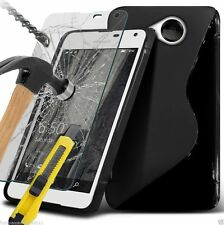 S-Line Slim Wave Gel Phone Case Cover+Glass Screen Protector for Lumia