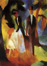 August Macke - People by a Blue Lake QUALITY Decor Canvas Print Poster Unframed