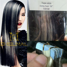 16inch Remy Tape in Human Hair Extensions Ombre Black with Lightest blonde weave