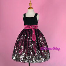 Glittering Black Purple Wedding Flower Girl Dress Pageant Party Size 6-14 FG247