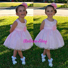 Embroidery Scoop Dress Wedding Pageant Party Birthday Baby Size 9Months-5 FG272