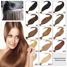 """100S 18"""" 20"""" 22"""" 26"""" Stick Tip Human Hair Extensions Straight Black Brown Blonde"""