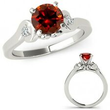 1 Carat Red Diamond Solitaire Engagement Promise Ring Band Set 14K White Gold