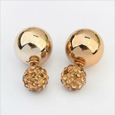 Double Side Disco Ball Plug Pin Earrings Ear Studs  Crystal Pearl Beads