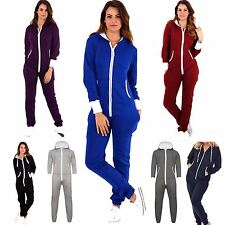 New Adult Womens Ladies Zip Up Hooded Plain Onesie All In One Playsuit Jumpsuit