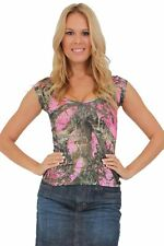 WOMEN'S JUNIORS SEXY PINK CAMO V-NECK TOP TRUE TIMBER CAMOUFLAGE T-SHIRT BLOUSE