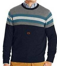 NWT $60-Mens Izod Blue & Gray Striped Crewneck Long Sleeve Sweater-size S & M