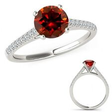 1.15 Carat Red Diamond Beautiful Solitaire Eternity Bridal Ring 14K White Gold