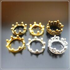 Multi-Color Vintage Style Alloy Crown Shape Ring Jewelry Pendant Charms Crafts