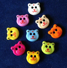 Set 6 Assorted Coloured Bear Face Plastic Buttons. Sewing. Craft. Scrapbooking