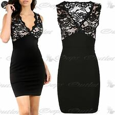 Womens Ladies Foral Crochet Lace Contrast Sleeveless V Neck Bodycon Mini Dress