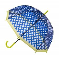 Blue And Lime Polkadot Everyday Walking Stick Clear See Through Umbrella